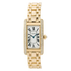 Cartier Tank Americaine 1710 Womens Quartz Watch 18K Yellow Gold White Dial