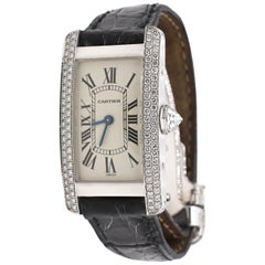 Cartier Tank Americaine 1713 18 Karat White Gold Diamond Leather Strap Watch