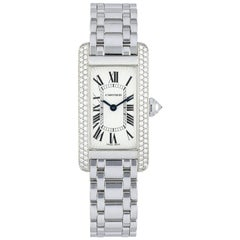 Cartier Tank Americaine 1713 White Gold Diamond Ladies Watch