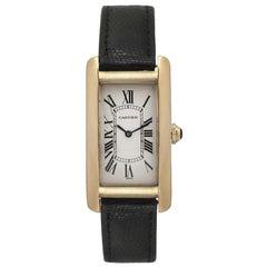 Cartier Tank Americaine 1720 Unisex Quartz Midsize Watch 18 Karat Yellow Gold