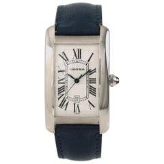 Cartier Tank Americaine 1741 Men's Automatic Watch White Dial 18 Karat Gold