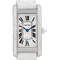 Cartier Tank Americaine 18 Karat White Gold Diamond Watch WB701851