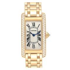 Cartier Tank Americaine 18 Karat Yellow Gold Diamond Ladies Watch WB7012K2