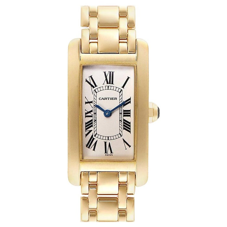 Cartier Tank Americaine 18 Karat Yellow Gold Ladies Watch W26015K2 For Sale