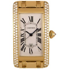 Cartier Tank Americaine 18 Karat Yellow Gold Silver Guilloche Dial Diamond Set