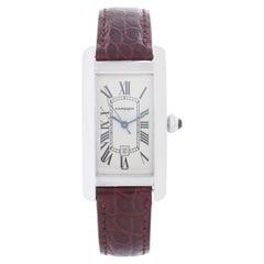 Cartier Tank Americaine 18k White Gold Men's or Ladies Midsize Watch W2603656 2