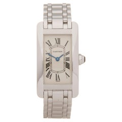 Cartier Tank Americaine 18 Karat White Gold W26019l1 or 1713 Wristwatch