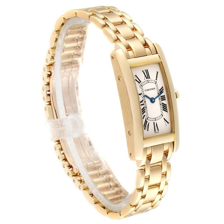 Cartier Tank Americaine 18 Karat Yellow Gold Ladies Watch W26015K2 In Excellent Condition For Sale In Atlanta, GA