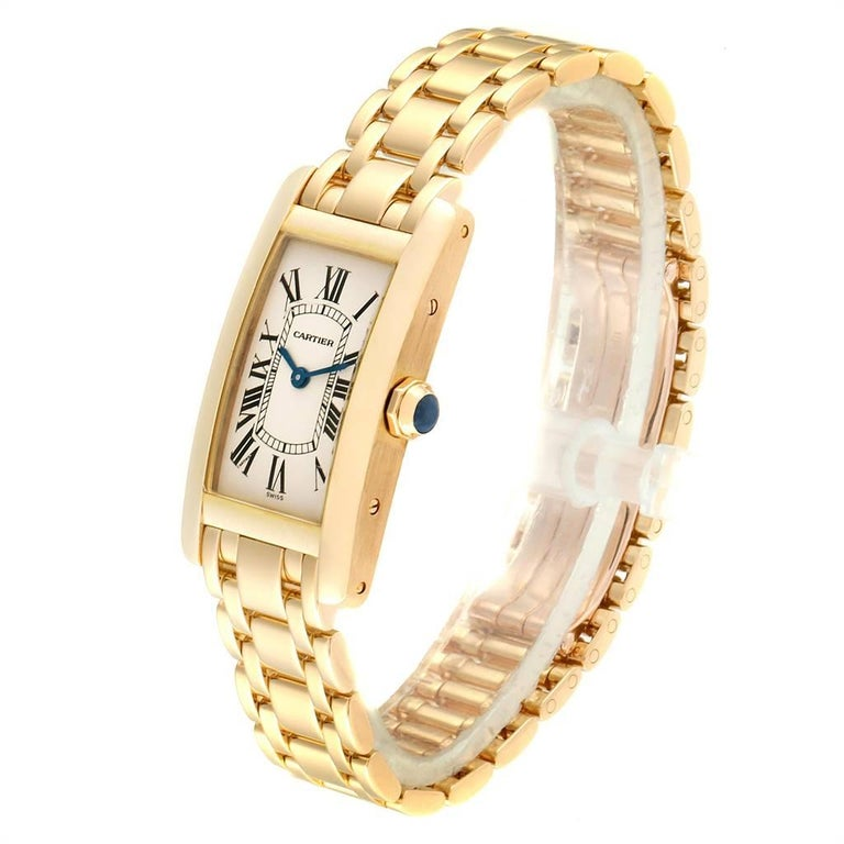 Women's Cartier Tank Americaine 18 Karat Yellow Gold Ladies Watch W26015K2 For Sale
