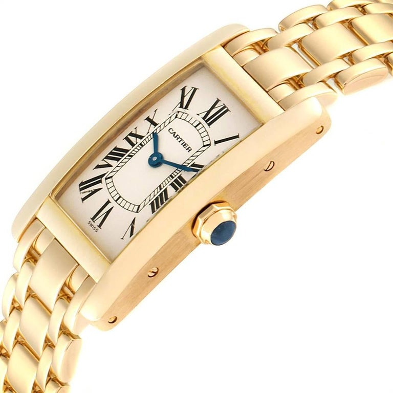 Cartier Tank Americaine 18 Karat Yellow Gold Ladies Watch W26015K2 For Sale 1