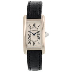 Cartier Tank Americaine 2489 18 Karat White Gold Ladies Watch