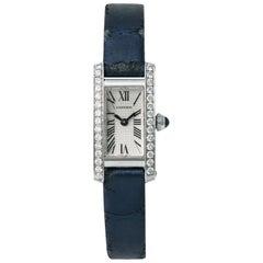 Cartier Tank Americaine 2544 Womens Quartz Watch 0.75 Carat 18 Karat White Gold