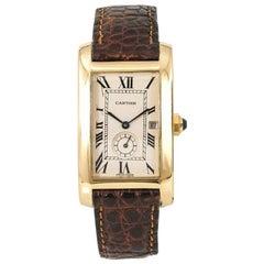 Cartier Tank Americaine 811904 Unisex Quartz Watch 18 Karat YG Cream Dial