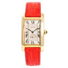 Cartier Tank Americaine 811905 Unisex Quartz 18 Karat Gold Watch Cream Dial