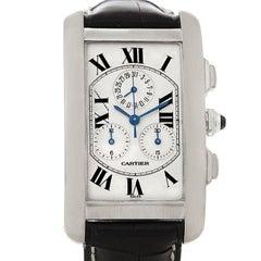 Cartier Tank Americaine Chronograph 18 Karat White Gold Watch W2603358