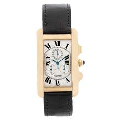 Cartier Tank Americaine Chronograph Men's 18k Gold Watch  W26011K2