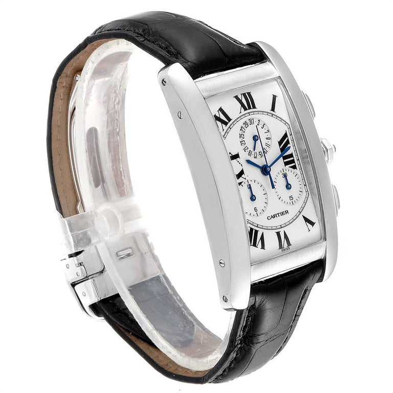 Cartier Tank Americaine Chronograph White Gold Men's Watch W2603358 In Good Condition For Sale In Atlanta, GA