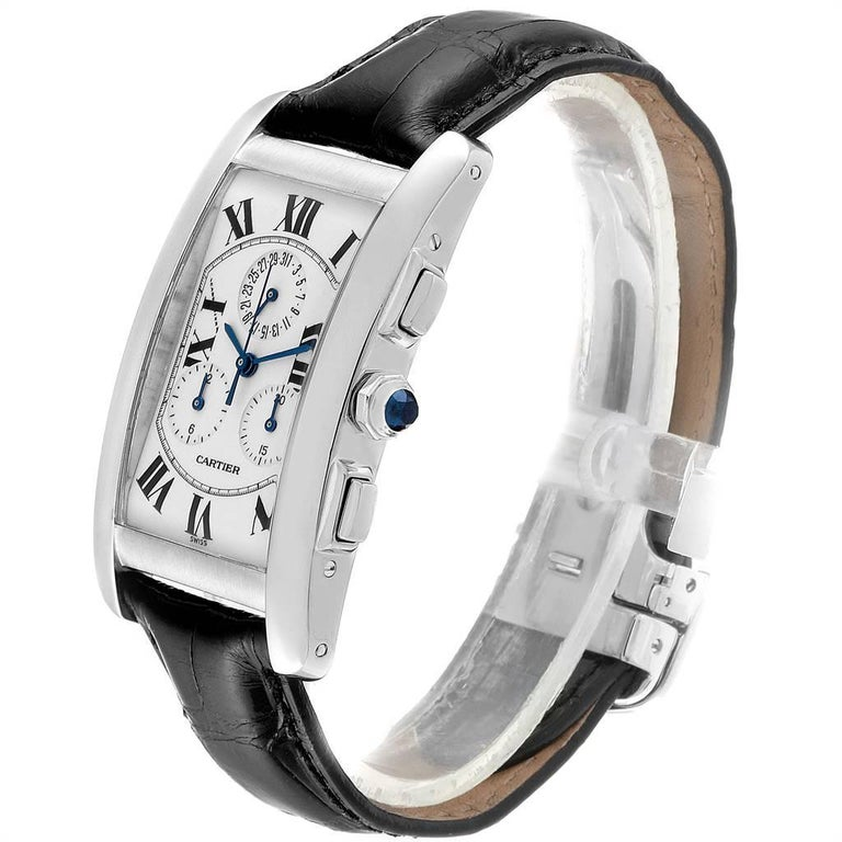 Cartier Tank Americaine Chronograph White Gold Men's Watch W2603358 For Sale 1