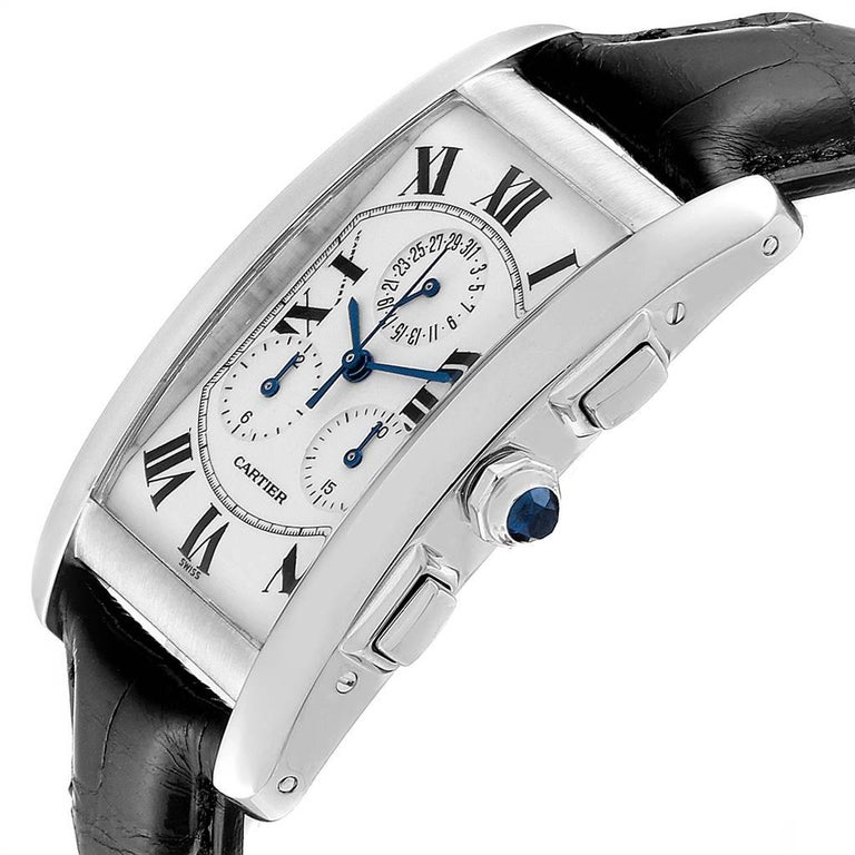 Cartier Tank Americaine Chronograph White Gold Men's Watch W2603358 For Sale 2