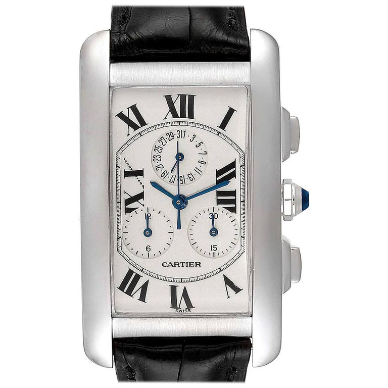 Cartier Tank Americaine Chronograph White Gold Men's Watch W2603358 For Sale