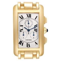 Cartier Tank Americaine Chronograph Yellow Gold Men's Watch W2601156