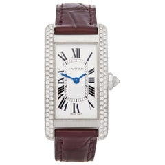 Cartier Tank Americaine Diamond 18 Karat White Gold 1713