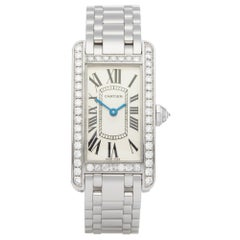 Cartier Tank Americaine Diamond 18 Karat White Gold
