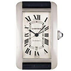 Cartier Tank Americaine Extra Large White Gold Silver Guilloche Dial W2609956