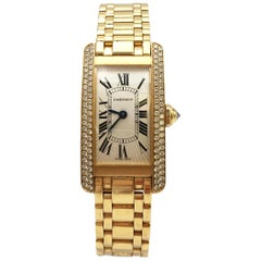 Cartier Tank Americaine Gold Diamond Watch