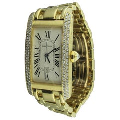 "Cartier ""Tank Americaine"" Ladies 18 Karat Yellow Gold and Diamond Watch"