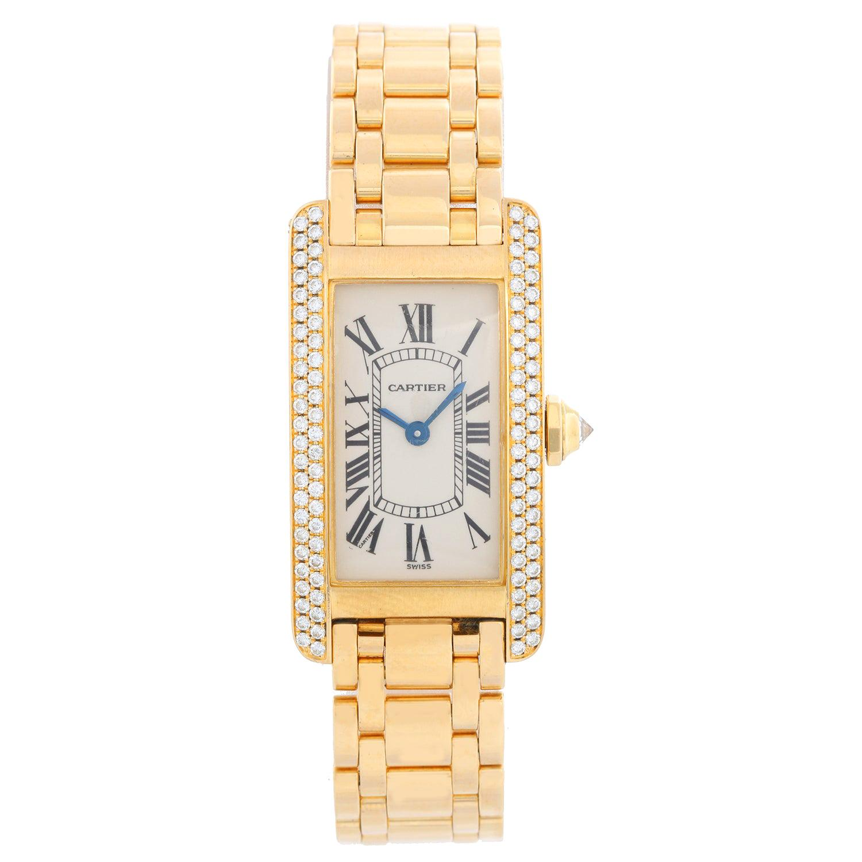 Cartier Tank Americaine Ladies 18 Karat Yellow Gold and Diamond Watch WB7012K2