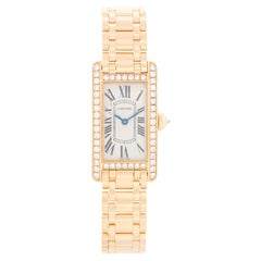 Cartier Tank Americaine Ladies 18 Karat Yellow Gold and Diamond Watch WB7072K2