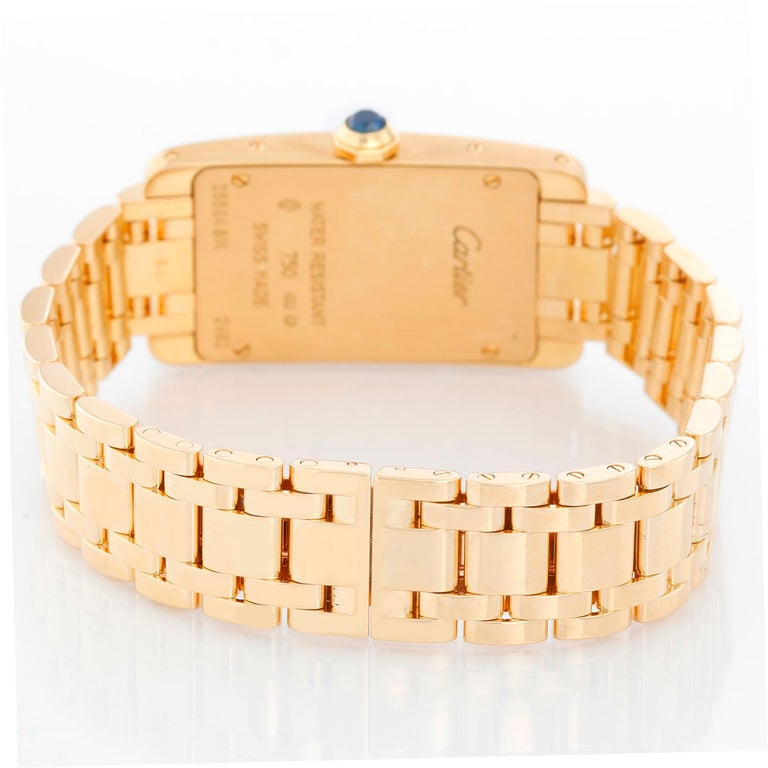 Cartier Tank Americaine Ladies 18k Yellow Gold Watch 2482 In Excellent Condition For Sale In Dallas, TX