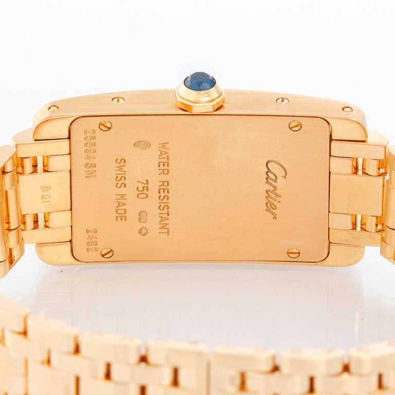 Women's Cartier Tank Americaine Ladies 18k Yellow Gold Watch 2482 For Sale