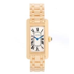 Cartier Tank Americaine Ladies 18k Yellow Gold Watch 2482