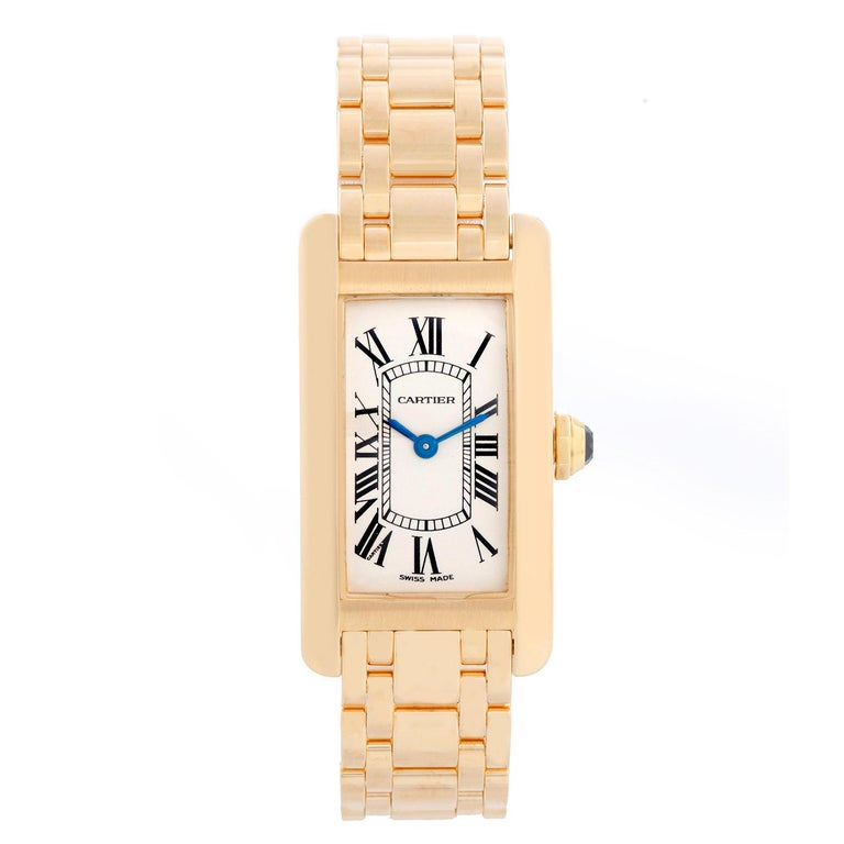 Cartier Tank Americaine Ladies 18k Yellow Gold Watch 2482 For Sale