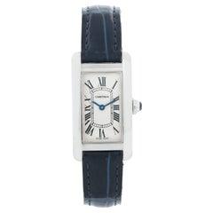 Cartier Tank Americaine Ladies Small 18 Karat White Gold Watch W2601956 2489