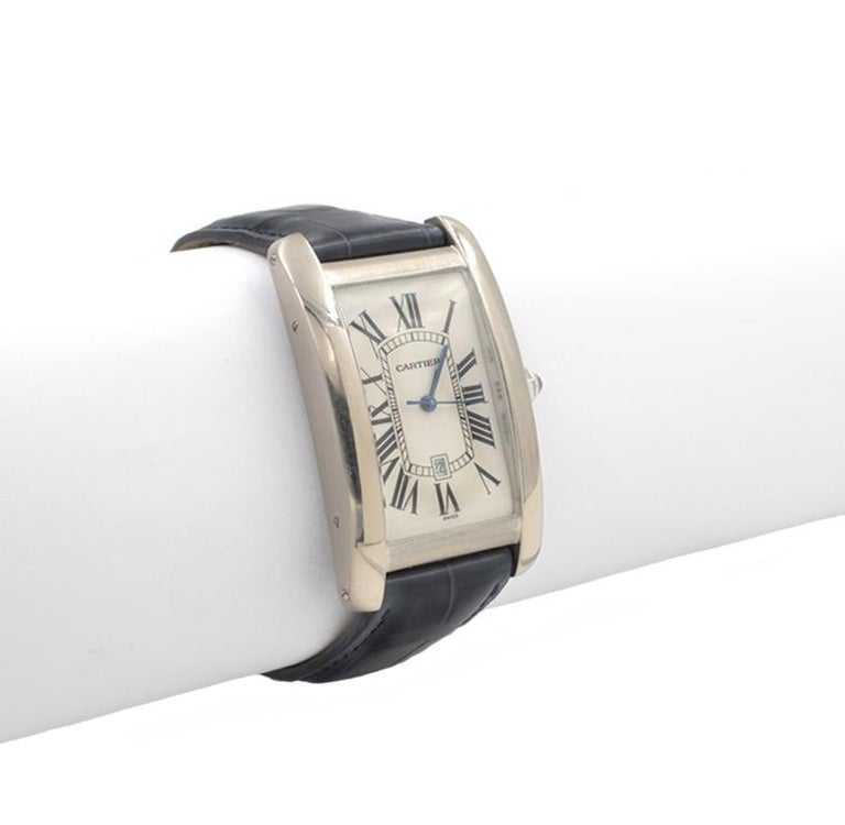 Cartier Tank Americaine Large 18 Karat White Gold In Good Condition For Sale In Los Angeles, CA