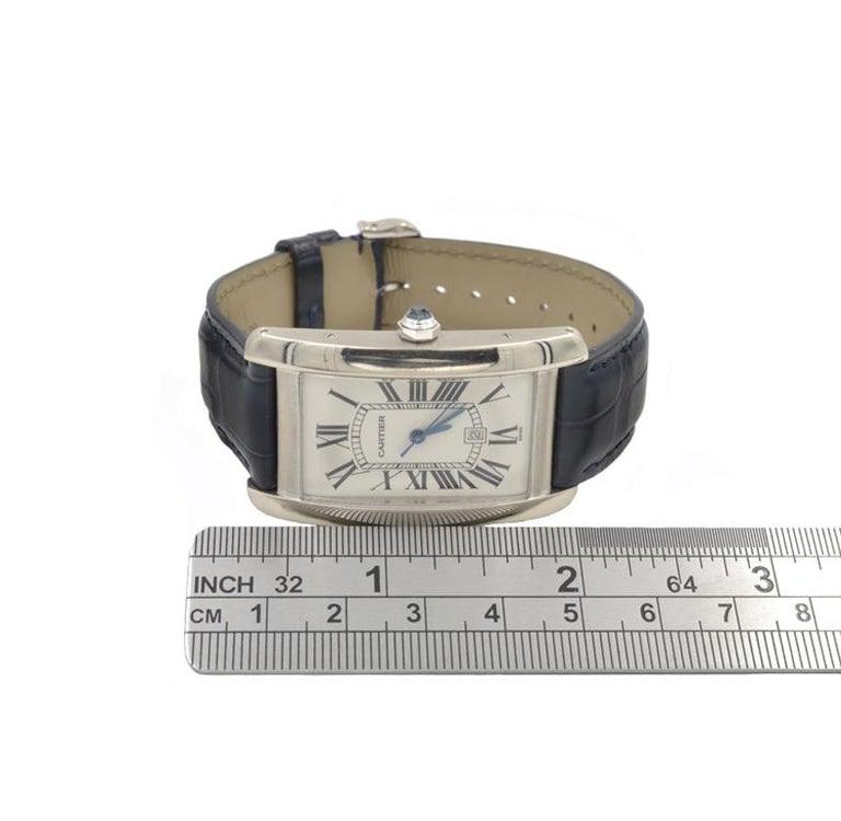 Women's or Men's Cartier Tank Americaine Large 18 Karat White Gold For Sale