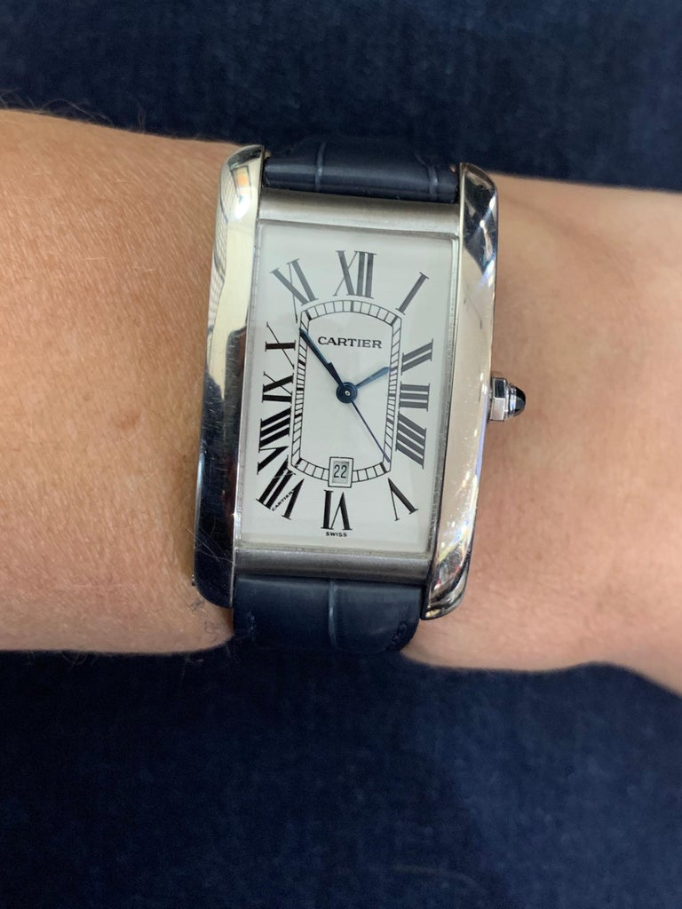 Cartier Tank Americaine Large 18 Karat White Gold For Sale 2