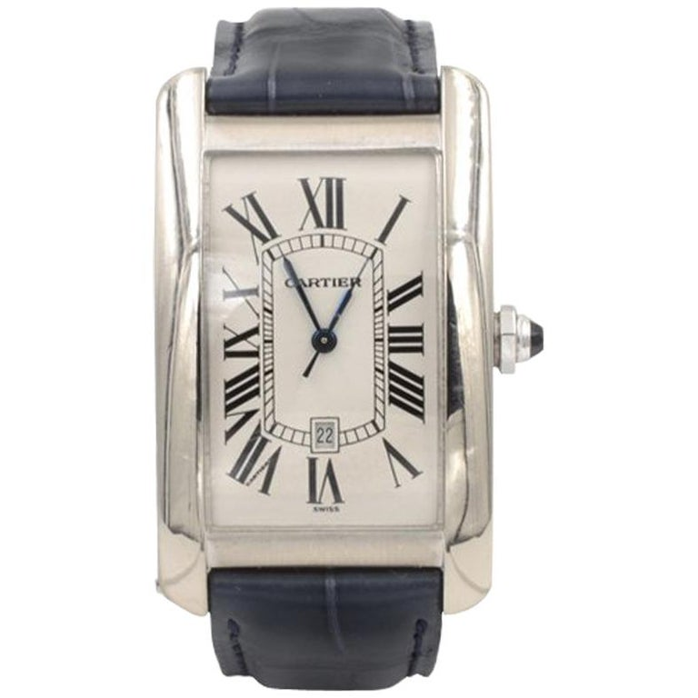Cartier Tank Americaine Large 18 Karat White Gold For Sale