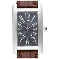 Cartier Tank Americaine Large White Gold Grey Dial Men's Watch W2605229