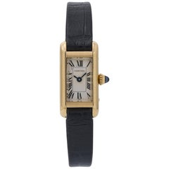 Cartier Tank Americaine Mini 1380 18 Karat Gold White Roman Dial Ladies Watch