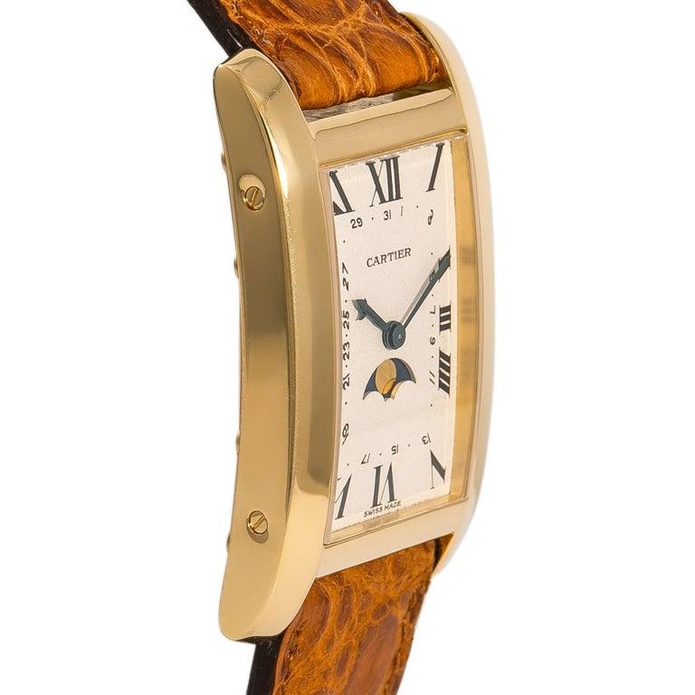 Contemporary Cartier Tank Americaine Moonphase 819908 Men's Quartz 18 Karat Yellow Gold Watch For Sale