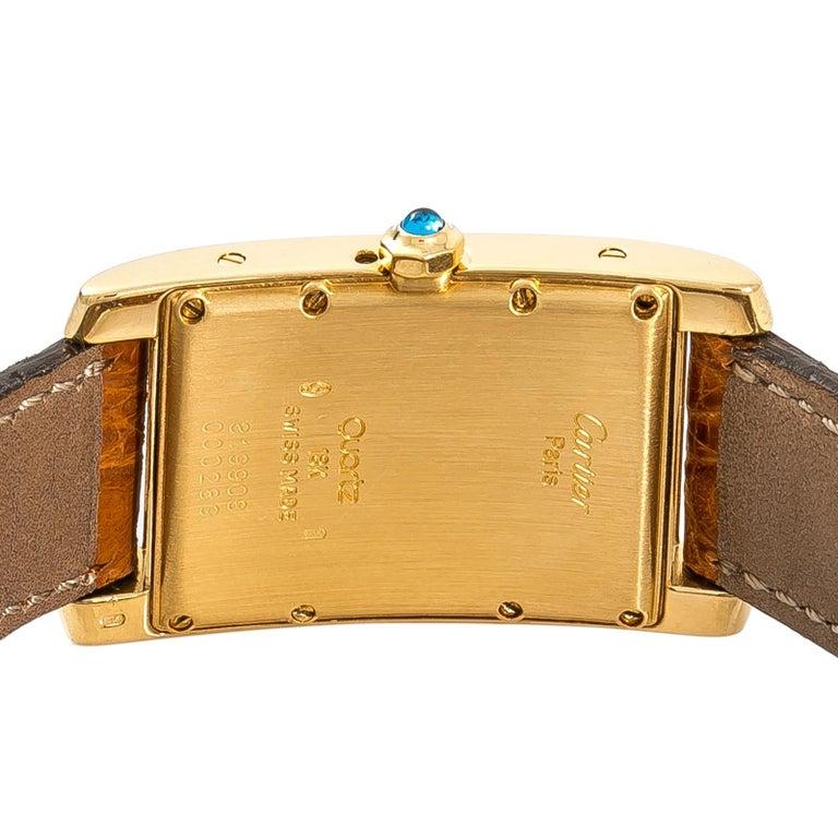 Cartier Tank Americaine Moonphase 819908 Men's Quartz 18 Karat Yellow Gold Watch In Good Condition For Sale In Miami, FL