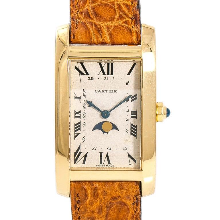Women's Cartier Tank Americaine Moonphase 819908 Men's Quartz 18 Karat Yellow Gold Watch For Sale