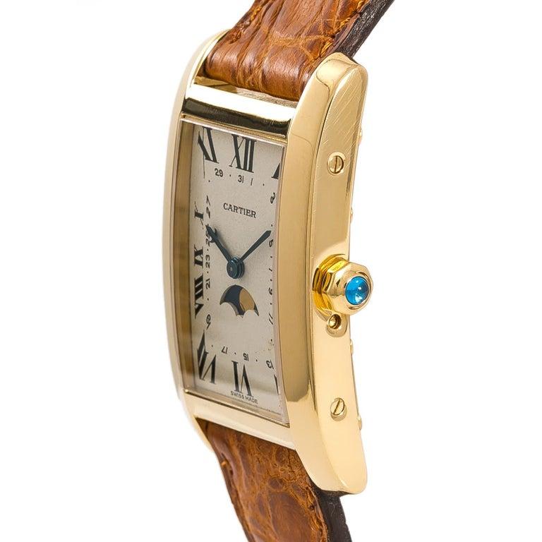 Cartier Tank Americaine Moonphase 819908 Men's Quartz 18 Karat Yellow Gold Watch For Sale 1