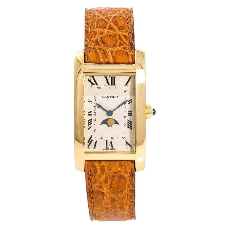 Cartier Tank Americaine Moonphase 819908 Men's Quartz 18 Karat Yellow Gold Watch For Sale