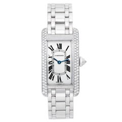 Cartier Tank Americaine 'or American' Ladies WG Diamond Watch WB7018L1