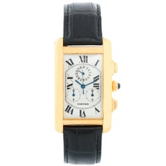 Cartier Tank Americaine 'or American' Men's 18 Karat Gold Chronograph Watch